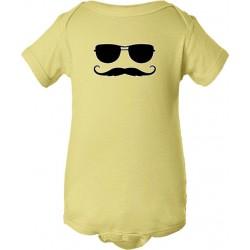 Sunglasses And Mustache Baby Bodysuit Sun N' Stache