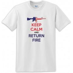 Keep Calm And Return Fire M-16 Rifle Us Flag  Tee Shirt