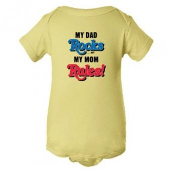 Baby Bodysuit My Dad Rocks But My Mom Rules