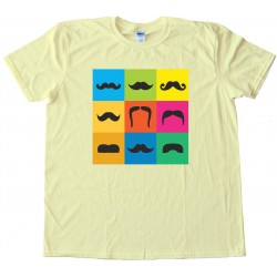 9 Mustache Styles On Colored Boxes - Movember - Tee Shirt