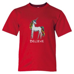 Believe Brightly Colored Unicorn - Tee Shirt