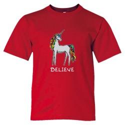 Believe Brightly Colored Unicorn - Tee Shirt