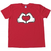 Cartoon Heart Hands Love - Tee Shirt