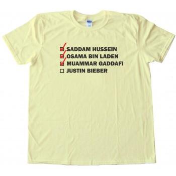 Hitlist Saddam Hussein Osama Bin Laden Muammar Gaddafi Justin Bieber Tee Shirt
