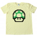 Mario Brothers 1Up Free Life Green Muchroom - Tee Shirt