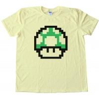 Mario Brothers 1Up Free Life Green Muchroom - Tee Shirt