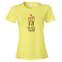 Womens And Now We Are Three Giraffes Baby - Tee Shirt