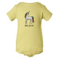 Baby Bodysuit Believe Brightly Colored Unicorn