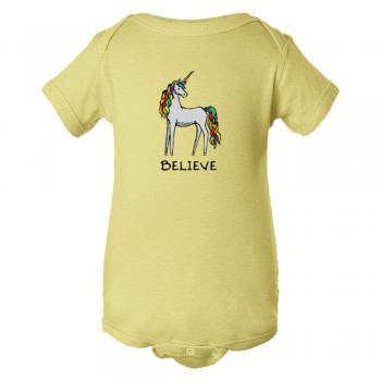 Baby Bodysuit Believe Brightly Colored Unicorn