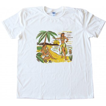 Hula Girl Retro Design Tee Shirt