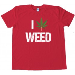 I Love Marijuana Pot Leaf Tee Shirt