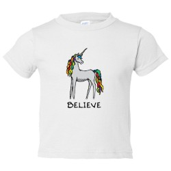 Toddler Sized Believe Brightly Colored Unicorn - Tee Shirt Rabbit Skins