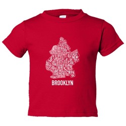 Toddler Sized Brooklyn Map With Area Names - Tee Shirt Rabbit Skins