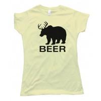 Womens Bear Deer Beer - Tee Shirt