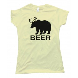 Womens Bear Deer Beer - Tee Shirt