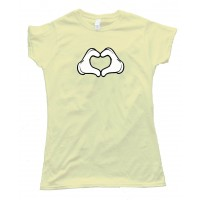 Womens Cartoon Heart Hands Love - Tee Shirt