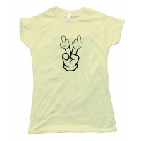 Womens Double Bird Cartoon Hand Flipoff - Tee Shirt