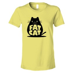 Womens Fat Cat Feline Roundest - Tee Shirt