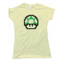 Womens Mario Brothers 1Up Free Life Green Muchroom - Tee Shirt