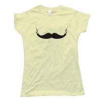 Womens Mustache With Guns Tee Shirt