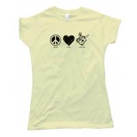 Womens Peace Love And Ukulele - Tee Shirt