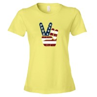 Womens Red White And Blue Patriotic Peace Hand Usa Stars And Stripes American - Tee Shirt