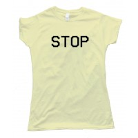 Womens Stop Camcorder Text Vcr - Tee Shirt