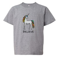 Youth Sized Believe Brightly Colored Unicorn - Tee Shirt