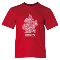 Youth Sized Brooklyn Map With Area Names - Tee Shirt
