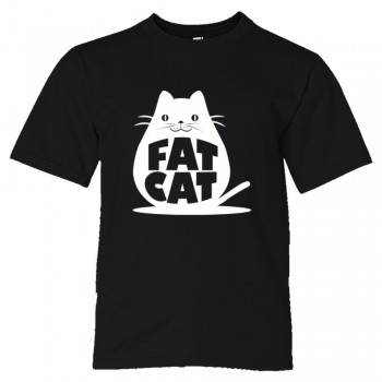Youth Sized Fat Cat Feline Roundest - Tee Shirt