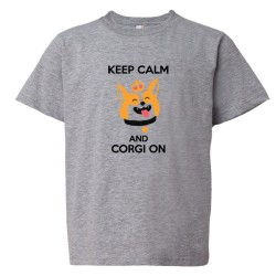 Youth Sized Keep Calm And Corgi On - Tee Shirt