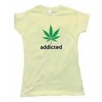 Womens Addicted Marijuana Leaf Adidas Parody Tee Shirt