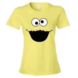 Womens Big Cookie Monster Face - Tee Shirt