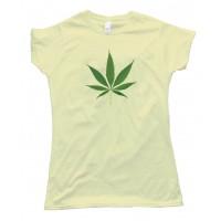 Womens Big Marijuana Leaf Pot Weed Tee Shirt