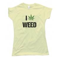 Womens I Love Marijuana Pot Leaf Tee Shirt