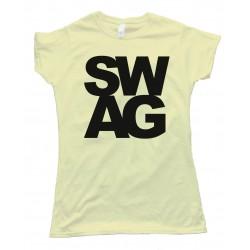 Womens S W A G - L E T T E R S - Tee Shirt
