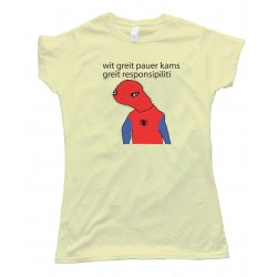 Womens Spooderman - With Great Power Comes Great Responsibility - Tee Shirt