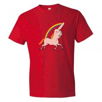 Fingercorn Unicorn Running Giving The Finger - Tee Shirt