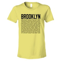 Womens Brooklyn Map With Area Names - Tee Shirt