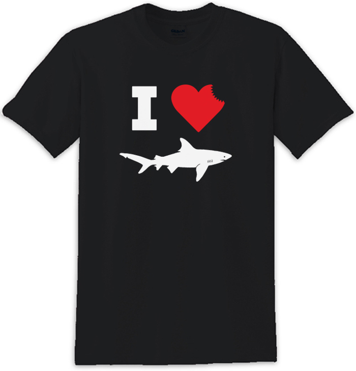 I Love Sharks Sharkbite Tee Shirt For Shark Week