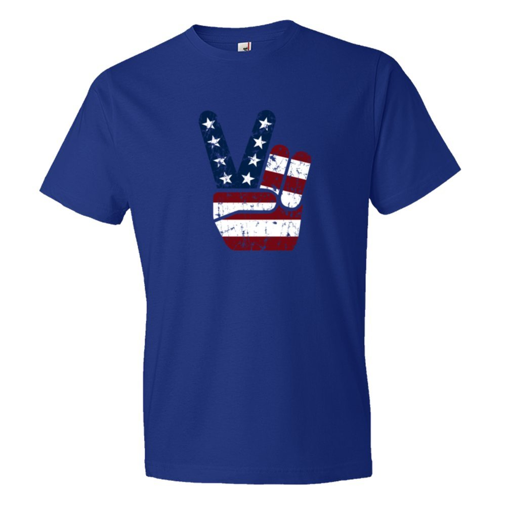 Red White And Blue Patriotic Peace Hand Usa Stars And Stripes American - Tee Shirt