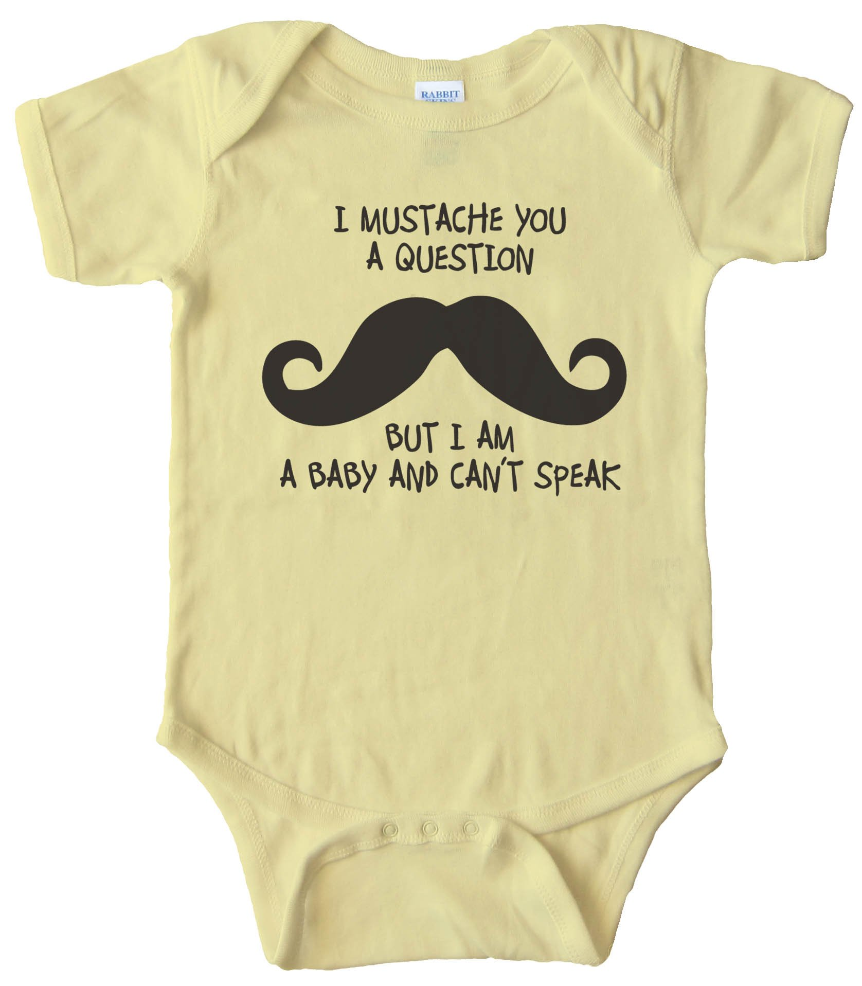 Baby Bodysuit - I Mustache You A Question But I'M A Baby And Can'T Speak -
