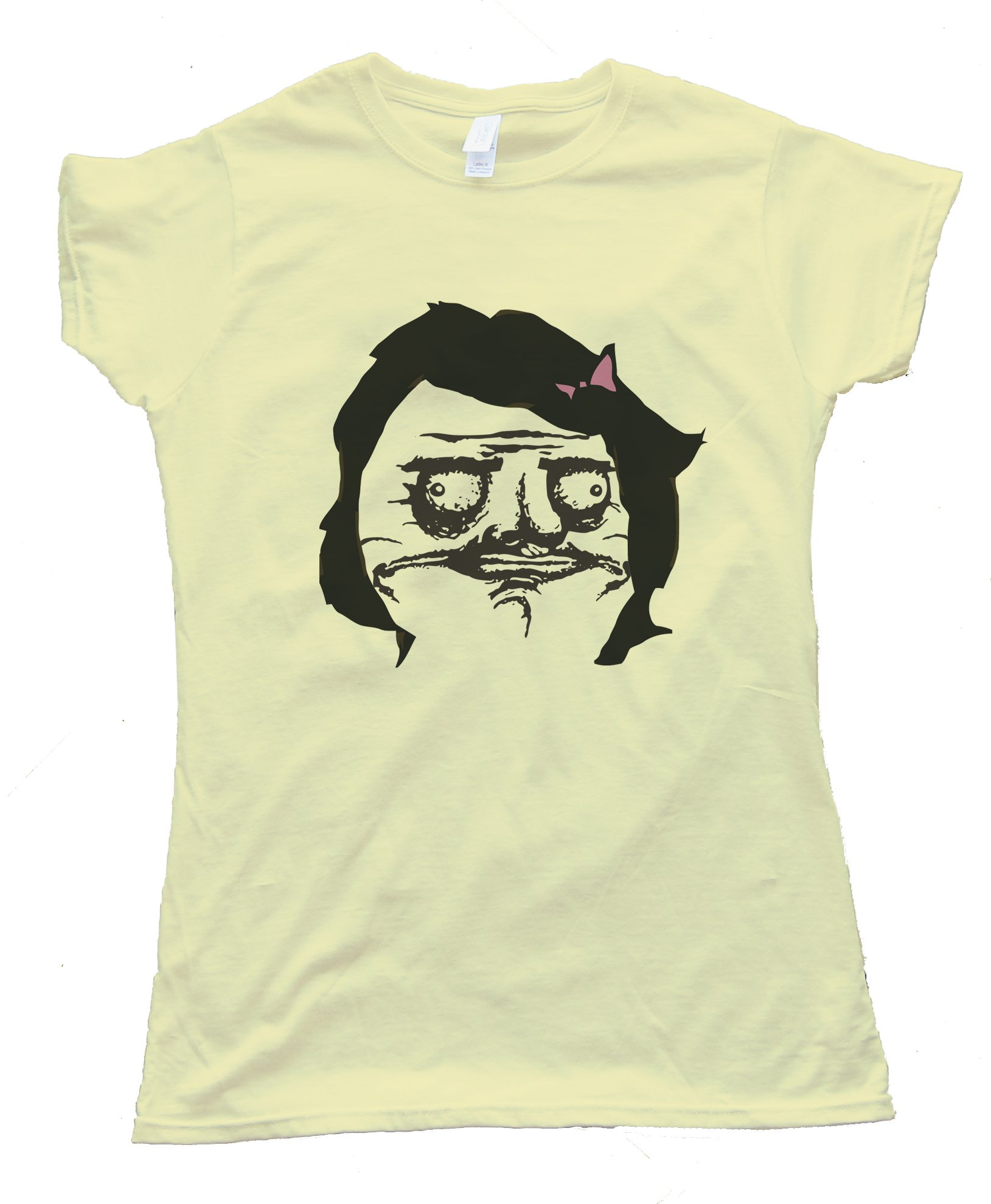 Female Black Hair Me Gusta Rage Comic Face Tee Shirt