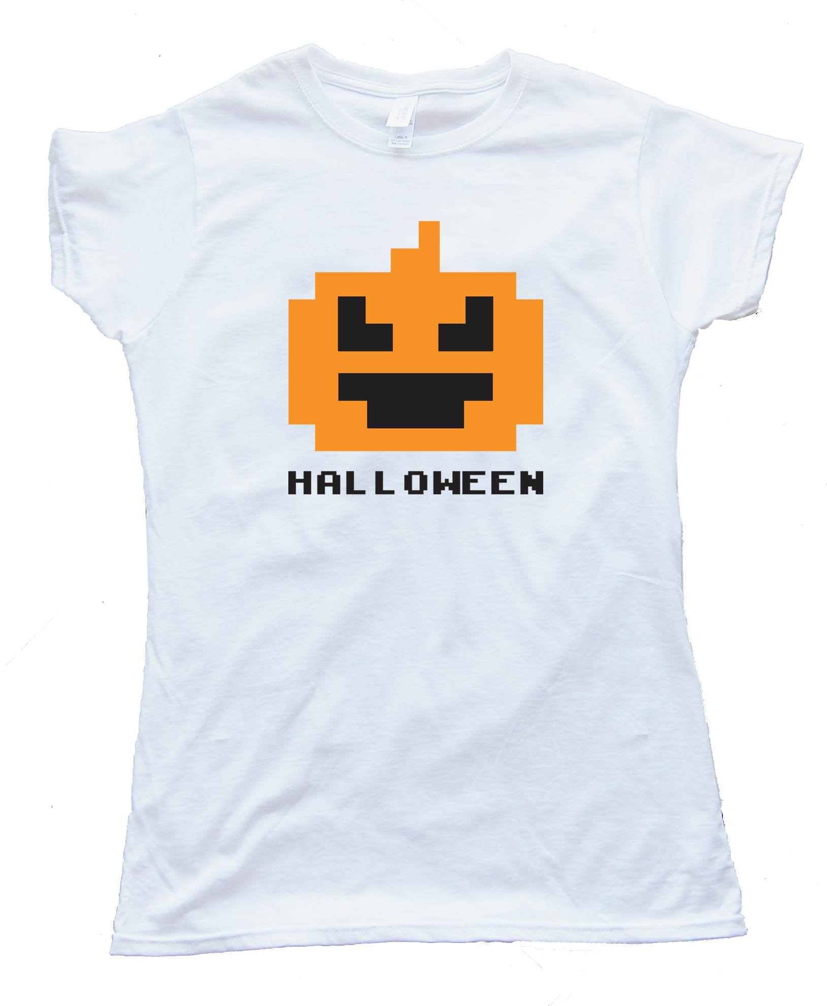 Womens 8 Bit Halloween Pumpkin - Tee Shirt