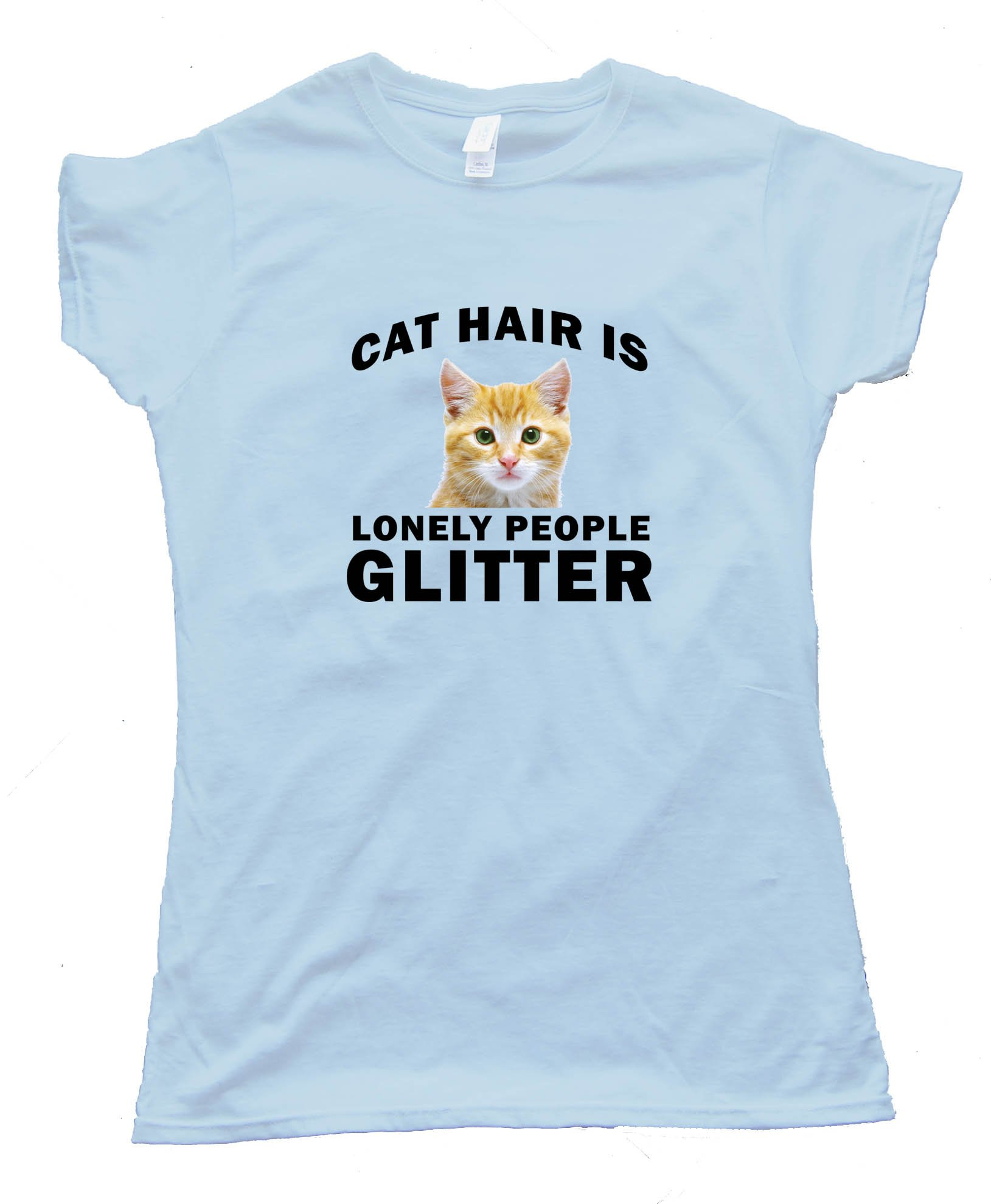 Womens Cat Hair Is Lonely People Glitter - Tee Shirt