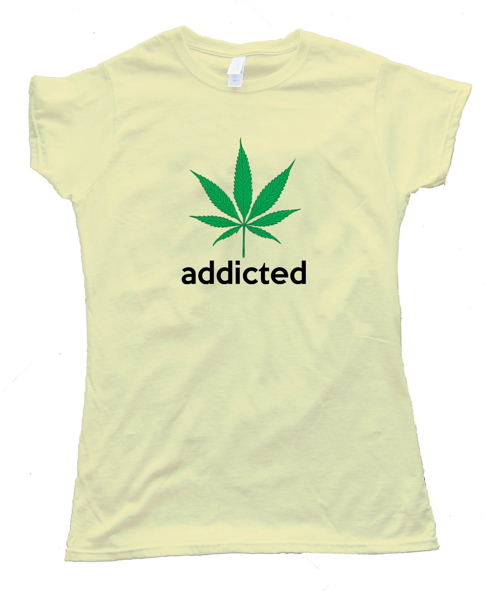 Womens Addicted Marijuana Leaf Adidas Parody Tee Shirt