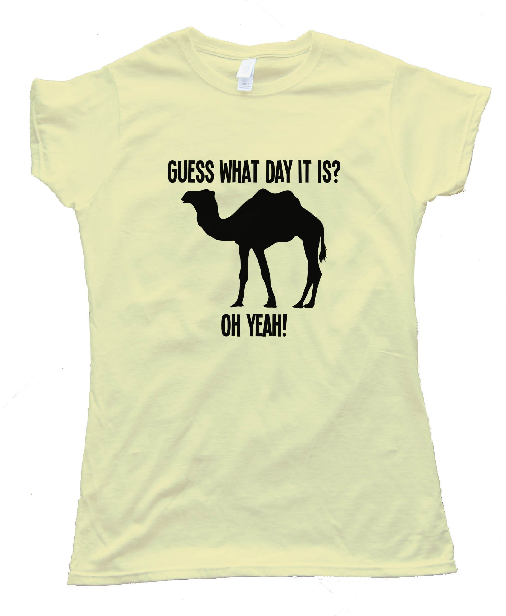 Womens Camel Silhouette Guess What Day It Is - Tee Shirt